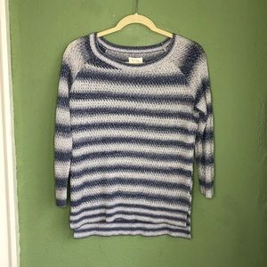 Lou & Grey Loft Blue and White Striped Sweater L
